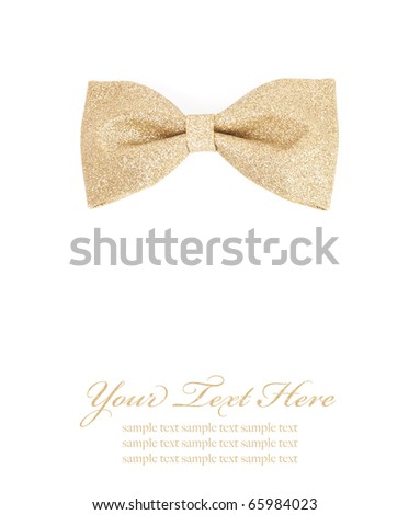 golden bow tie isolated on white background