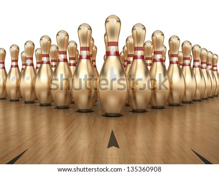 Golden Bowling Pins on white background, Clipping path included.