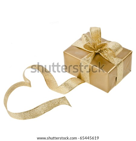golden box with ribbon bow in the form of heart isolated