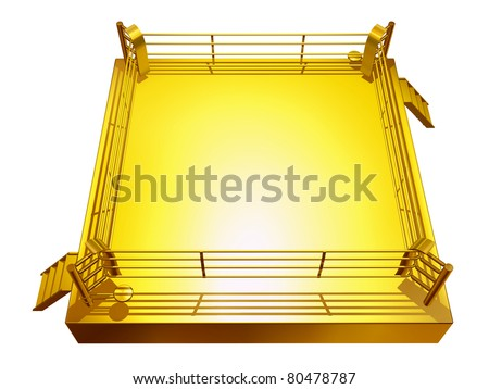 golden boxing ring - stock photo