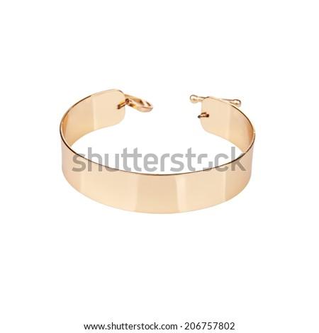 Golden bracelet isolated on white