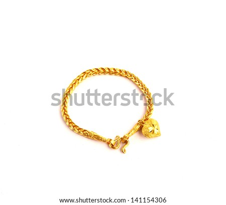 Golden bracelet with heart shape the image isolated on white