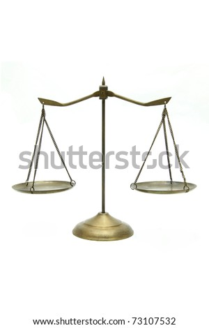 golden brass scales of justice on white