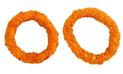 golden breaded battered crispy two onion rings isolated on white background, view from above, close-up