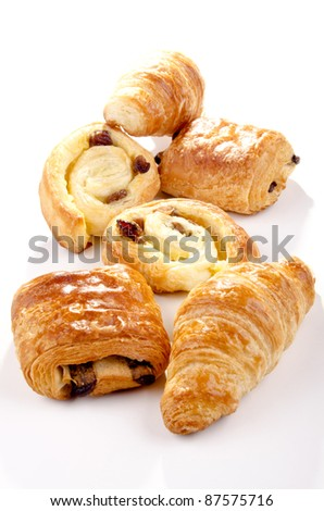 golden brown baked pastry with raisins