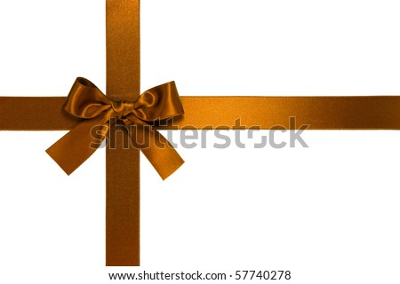 golden-brown cross ribbon with bow isolated on white
