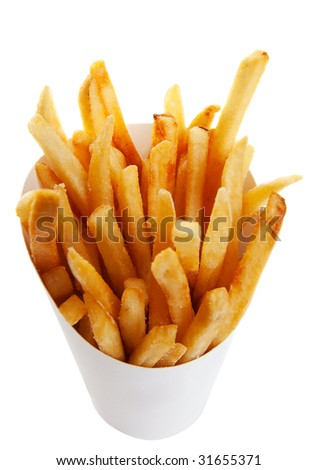 Golden brown french fries in a generic white take out container.  Shot on white background.
