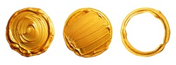 Golden brush strokes on a white background. Round circles in gold.