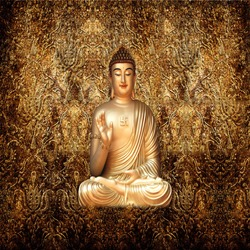 GOLDEN BUDDHA 3D WALLPAPER FOR WALLS