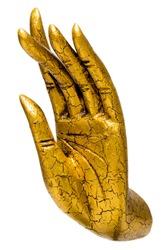 Golden Buddha hand statue isolated, handcrafts