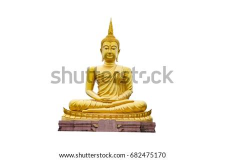 Golden Buddha images isolate on white bacground