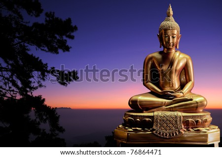 Golden Buddha Setting and wonderful Sun Rise - stock photo
