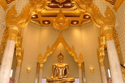 Golden buddha statue 9.8 ft tall and weighs 5.5 tonnes, gold in the statue 18 karat is estimated to be worth 250 million dollars in Temple of Golden Buddha in Bangkok, Thailand, National treasure.