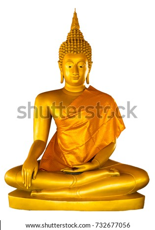Golden Buddha statue illuminated isolated on white background  with clipping path