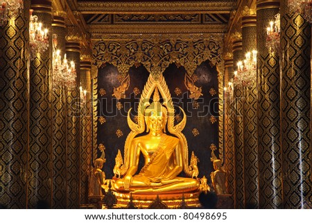 golden buddha statue image in Phisanulok Temple Thailand - stock photo