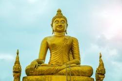 Golden buddha statue in Thai temple. Thailand sculpture.