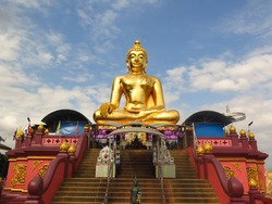 Golden Buddha statue near the border of Thailand, Laos and Myanmar, Chiang Rai, Golden Triangle