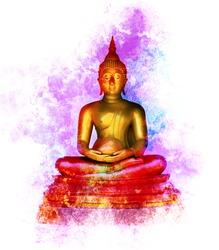 Golden Buddha statue on grunge color background.