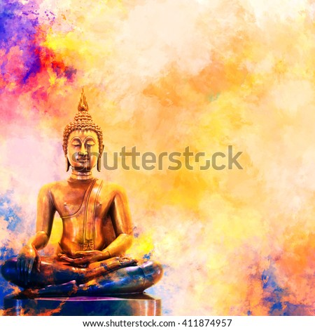 Golden Buddha statue on watercolor background.