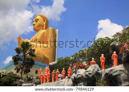 Golden Buddha Statue. UNESCO World Heritage Centre in Sri Lanka