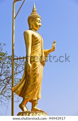 Golden Buddha was walking background sky.