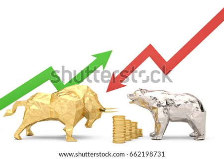 Shutterstock Golden bull with silver bear and graph on a white background 3d illustration.