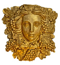 Golden bust head of a Greek maiden with grapes leaves in statue form. Grape haired Greek woman sconce statue with golden texture