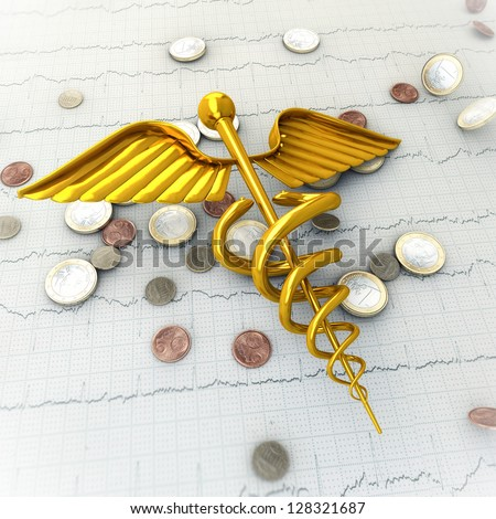 Golden Caduceus on Ecg - Ekg Paper with Coins - Spending Money on Health Concept Illustration