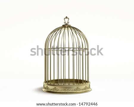 Golden cage - stock photo