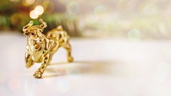 Golden calf, golden bull.Chinese new year of the bull. Year of the bull according to the Chinese calendar 2021. Souvenir bull made of gold metal on a background of fir branches with bokeh effect
