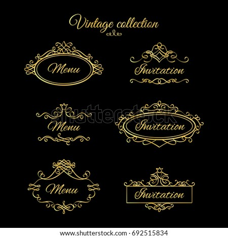 Golden calligraphic vignettes for menu and flourishes frames for wedding invitation. illustration