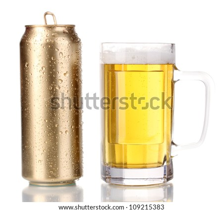 Golden can and beer glass isolated on white