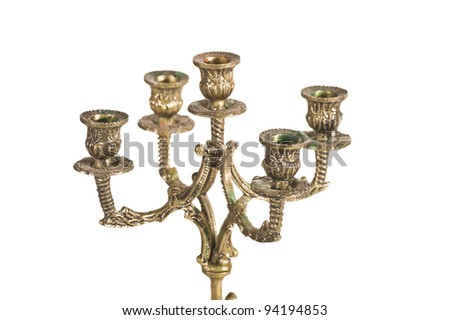 golden candlestick isolated - stock photo