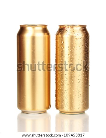 golden cans isolated on white - stock photo