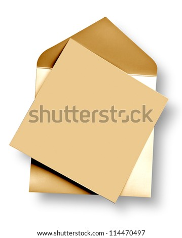 Golden card and envelope with shadow (clipping path)