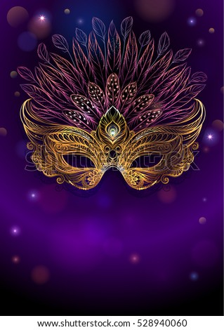 Golden carnival mask with feathers. Beautiful background for greeting card, party invitation, banner, flyer or poster.
