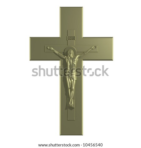 Golden Catholic Cross with the Crucifixion. 3D Render.