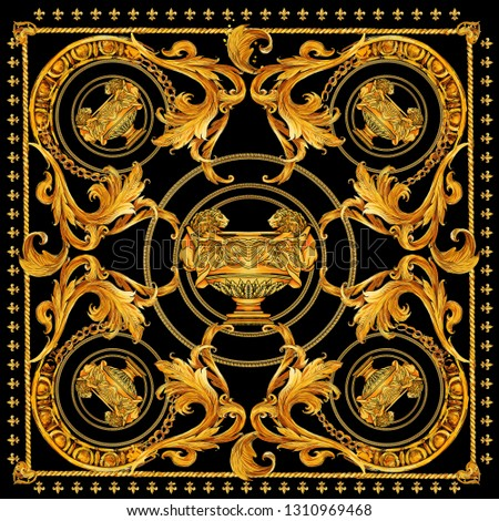 golden chain and baroque scarf design
