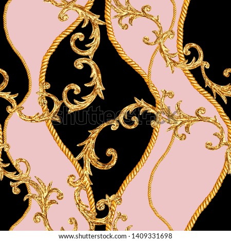 Golden chain glamour seamless pattern. Watercolor hand drawn fashion texture with gold chains and baroque elements on black pink background. Watercolour print for textile, fabric, wallpaper, wrapping.