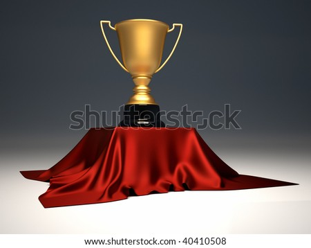 Golden champion cup sitting on a table with cloth - 3d render