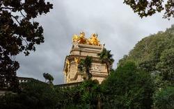 Golden chariot sculpture in Parc de la Ciutadella (Barcelona, Spain)