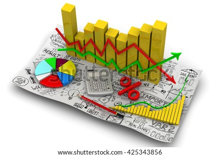 Golden charts with arrows of change data indicators, electronic calculator, a red pencil, symbol of percent, round diagram on the sheet of business sketches. Business still-life. 3D Illustration