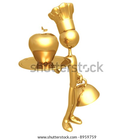 Golden Chef Serving A Gold Apple