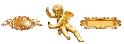 Golden cherub and art cartels isolated