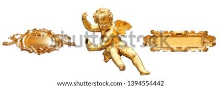 Golden cherub and art cartels isolated Foto stock ©