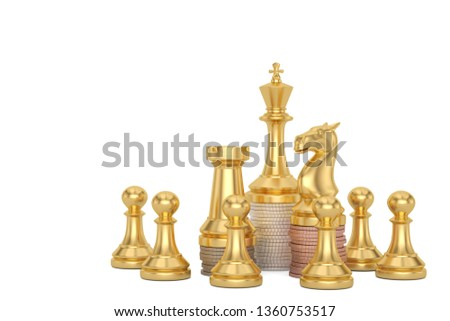 Golden chess and coin stacks  isolated on white background 3D illustration. #1360753517