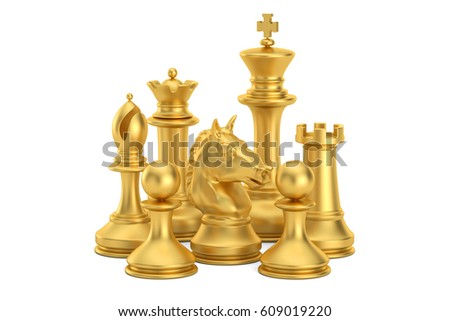 Golden chess figures, 3D rendering isolated on white background #609019220