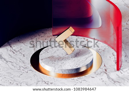 Golden Chevron Left Icon With White Marble and Red Glass. 3D Illustration of Fashion Golden Left, Arrow Left, Arrow, Chevron, Chevron Left Icon Set in the Red Installation.