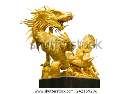 Golden Chinese dragon on isolate background
