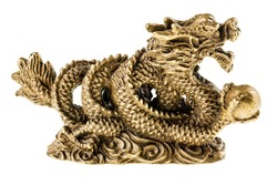 Golden chinese dragon sculpture isolated over a pure white background